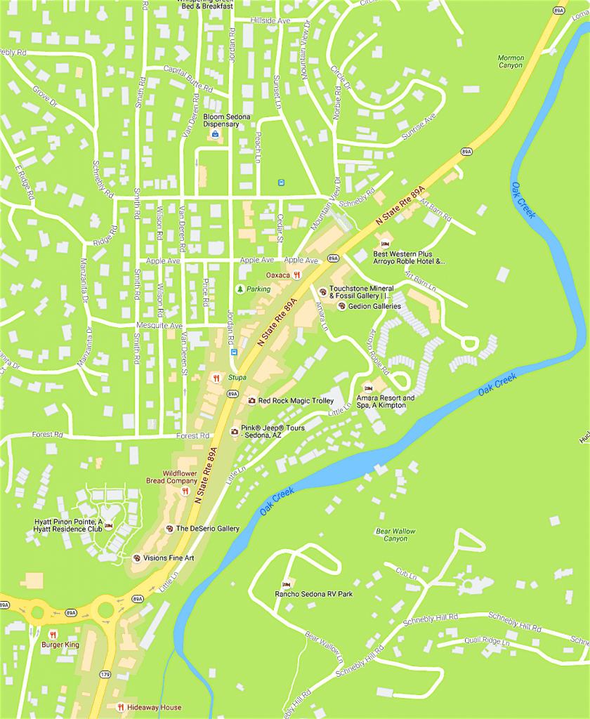 Map of Uptown Sedona AZ area - ReMax Sedona