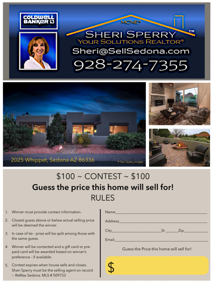 Sedona Homes for sale contest Sheri Sperry Coldwell Banker