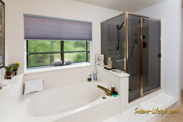 Privacy window allows light in Master Bath