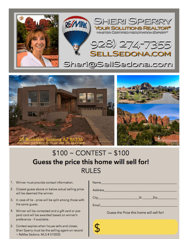 sedona real estate contest $100 Gift Certificate