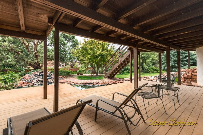 West Sedona homes with lush gardens.
