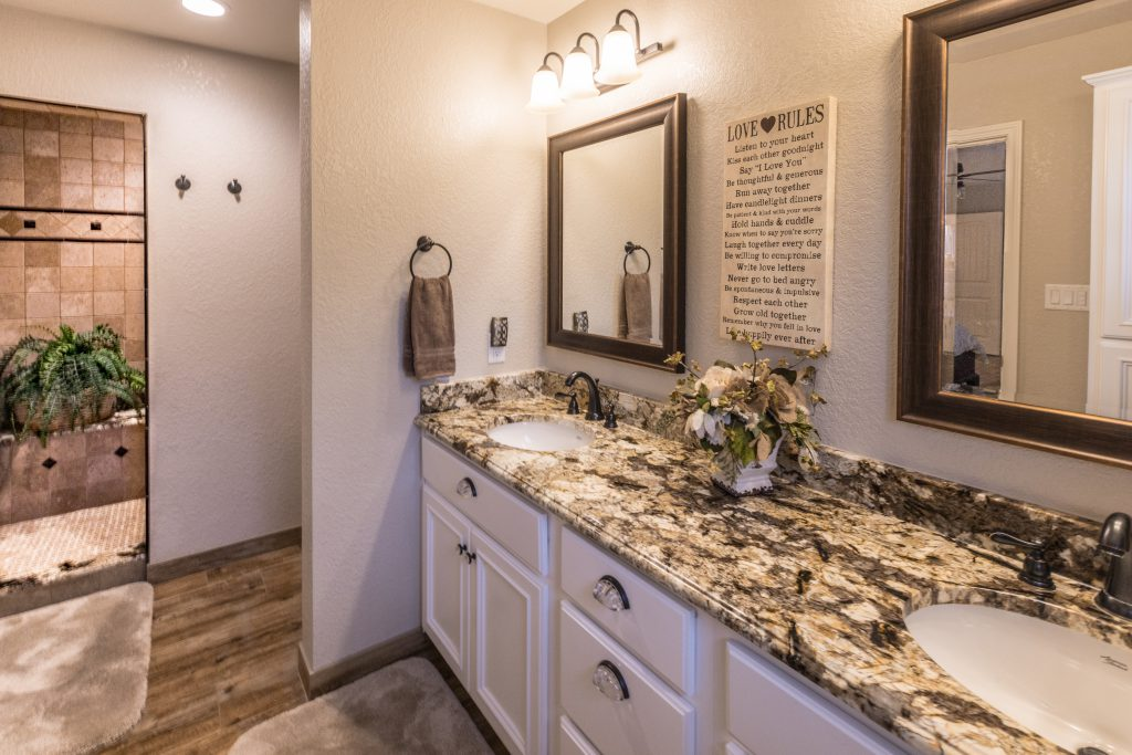 Spacious master bath and shower