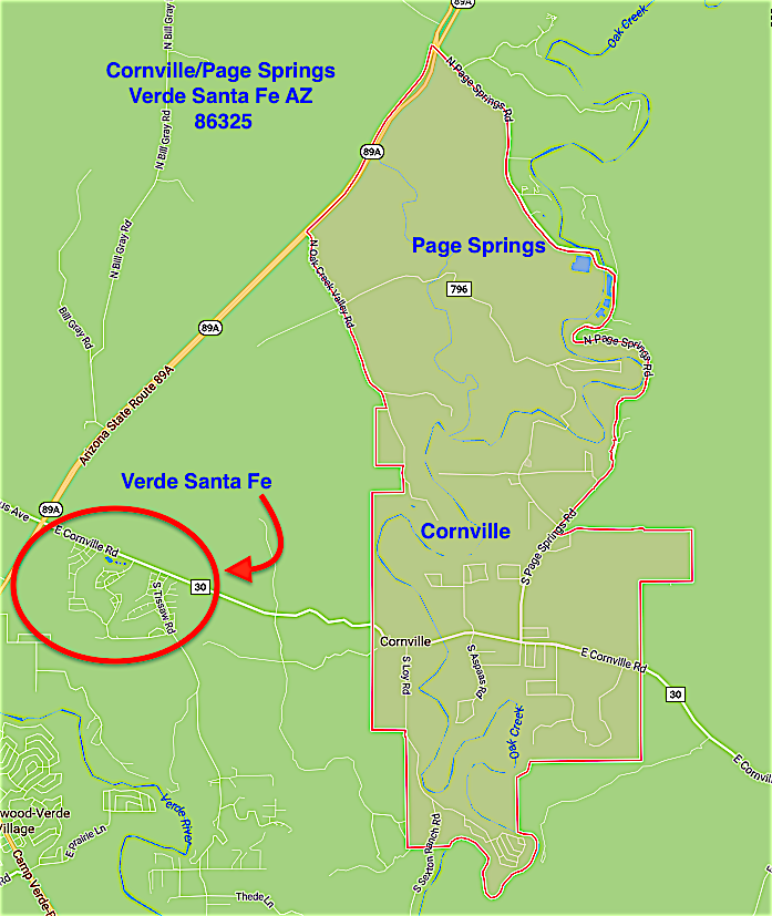 Map Of 89a Arizona.Map Cornville Page Springs Verde Santa Fe