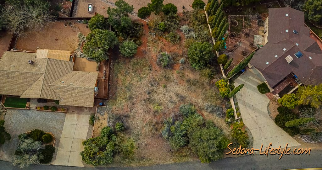 Aerial View of Sedona lot for sale