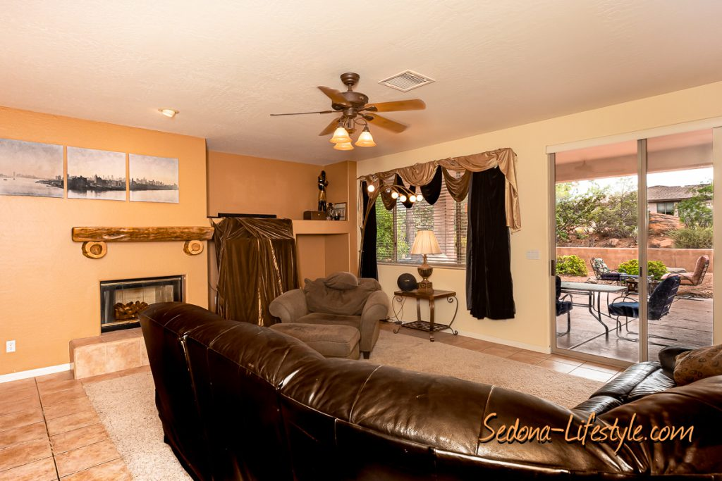 Great room to outside Sedona Golf Resort home offered by Sheri Sperry